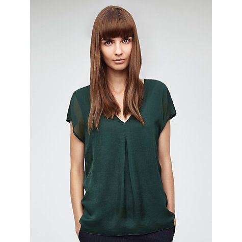 Buy Jigsaw Silk Overlay V-Neck Top Online at johnlewis.com