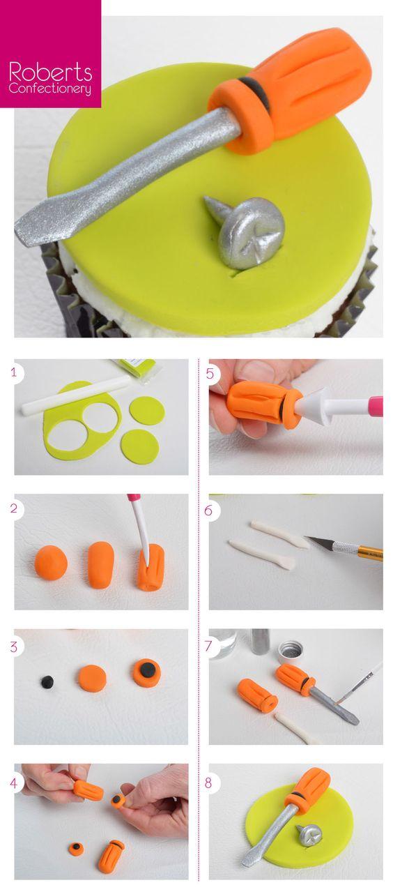 Screwdriver cupcake toppers using Satin Ice Fondant