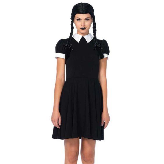 Gothic Wednesday Darling kostuum jurk zwart - Kostuum Party Halloween
