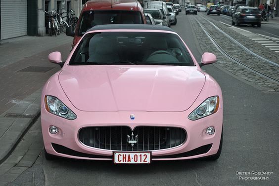 Pink Maserati lol I guess you can paint your car whatever colour you want when you have this kind of money: