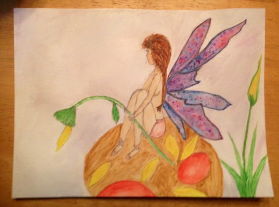 Faerie watercolor I painted. This is the first person I've ever drawn/painted. I'm really happy with how it turned out!