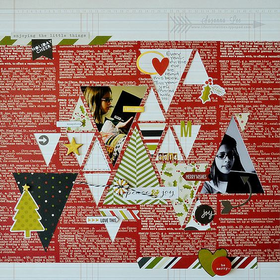 Peace & Joy - Scrapbook.com - Triangles on a Christmas layout mimic the iconic Christmas tree. Made with the Simple Stories DIY Christmas collection.