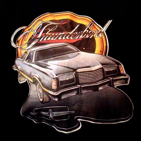 Ford Thunderbird Classic vintage 80s Holoubek black T shirt sz Large  #Holoubek #GraphicTee