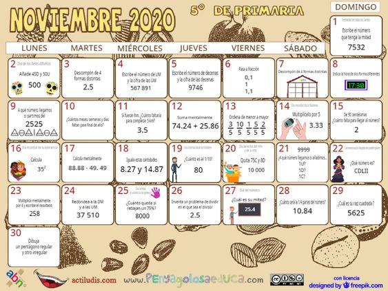 Calendario Quinto ABN – Noviembre 2020