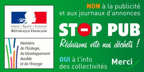 Autocollant Stop Pub du ministère de l'écologie à mettre sur sa boite aux lettres