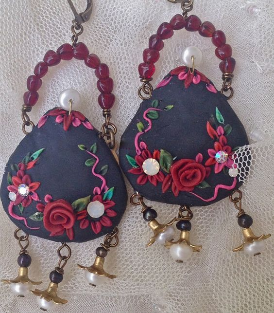 Lilygrace Black Mary Poppins Bag Earrings by LilygraceOriginals