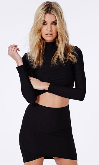 Having A Ball Black Bodycon Tulip Bandage Mini Skirt