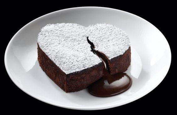 Heart shaped lava cake