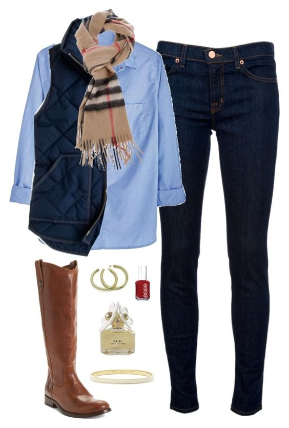 """""""Burberry, J.Crew and Frye"""" by thegingerprep ❤ liked on Polyvore featuring J Brand, J.Crew, Burberry, Frye, Sheila Fajl, Essie, Marc Jacobs and Kate Spade"""