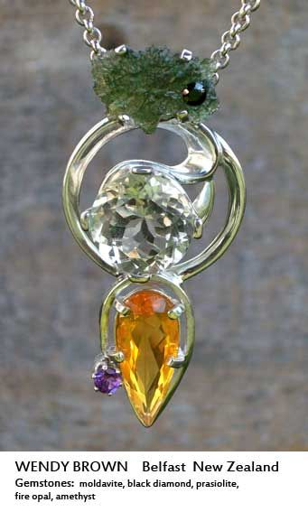 Soul Necklace belonging to Wendy Brown, made with moldavite, black diamond, prasiolite, fire opal and amethyst.