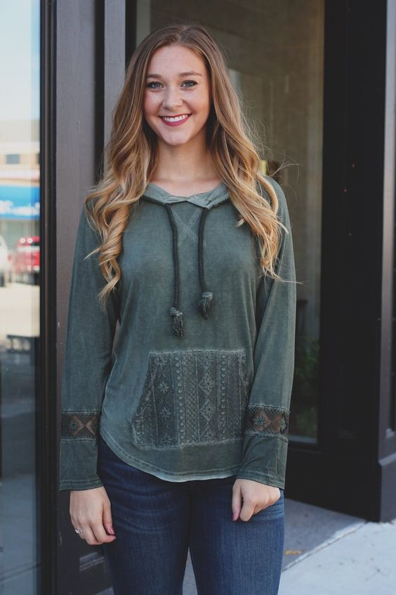 Lightweight Mineral Wash Lace Detail Hoodie Top – UOIOnline.com: Women's Clothing Boutique