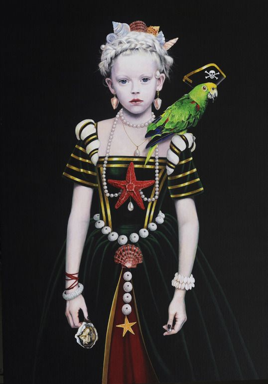"""Saatchi Online Artist: Titti Garelli; Acrylic, Painting """"Little Black Flagg and the Pirate Parrot"""":"""