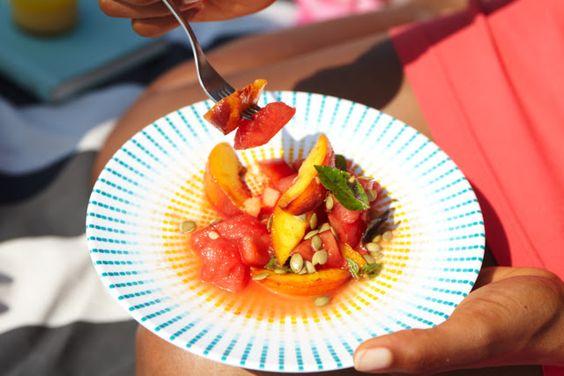 Watermelon & Peach Salad with Lime Vinaigrette | Sweet Potato Soul | Bloglovin'