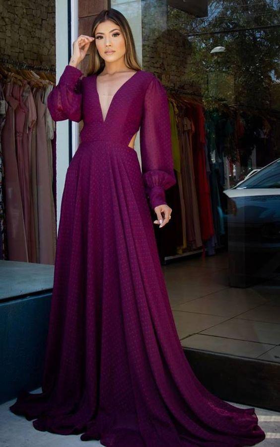 vestidos longos com manga roxo