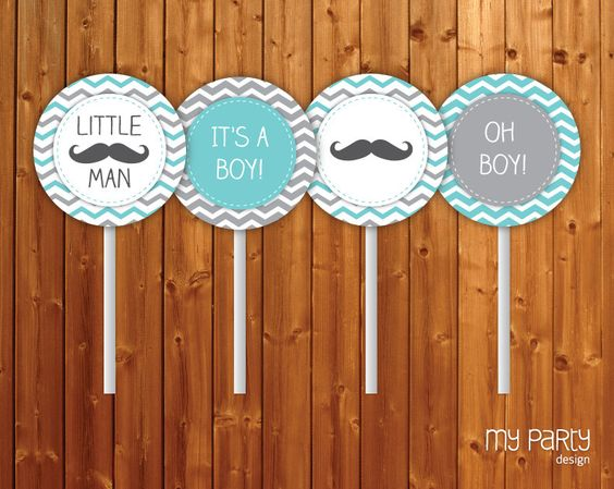 Mustache / Little Man Baby Shower Party - PRINTABLE Cupcake Toppers  boy moustache chevron turquoise grey diy pdf. $7.00, via Etsy.