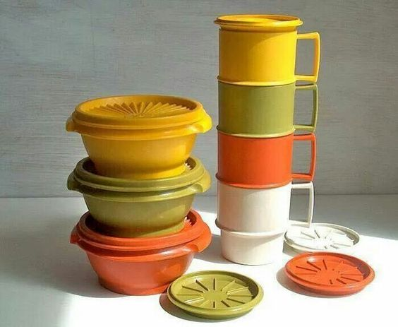 The many colors of 70's Tupperware