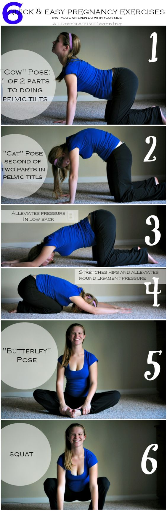 Click the image for 4 MORE easy exercises to do while pregnant. Pregnancy exercises that are quick and easy. 10 ideas for prenatal exercises you can even get done with a toddler in the house   ALLterNATIVElearning
