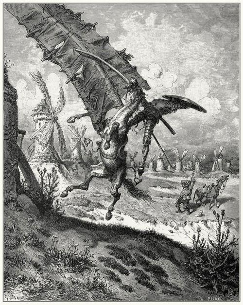 Sweeping with it horse and rider    Gustave Doré, from El ingenioso hidalgo Don Quijote de la Mancha (The ingenious gentleman Don Quixote of la Mancha) vol. 1, by Miguel de Cervantes, Barcelona, 1892.