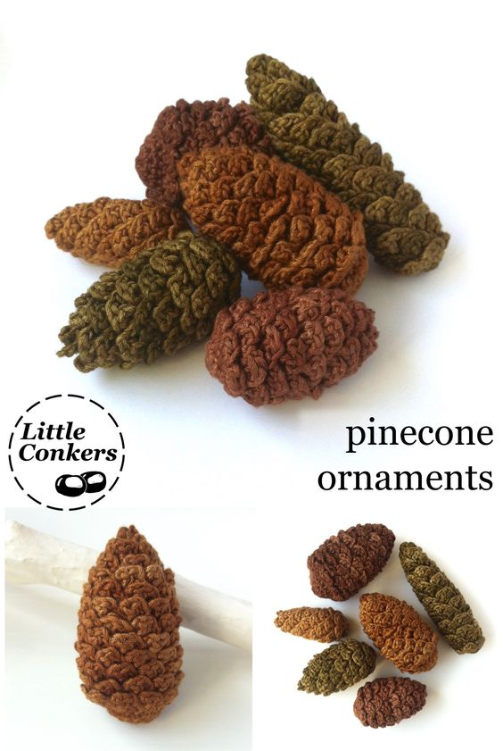 Six pinecone ornaments in beautiful, glossy, ethically-produced bamboo yarn. Ask about the combination of shapes and colours of your choice.