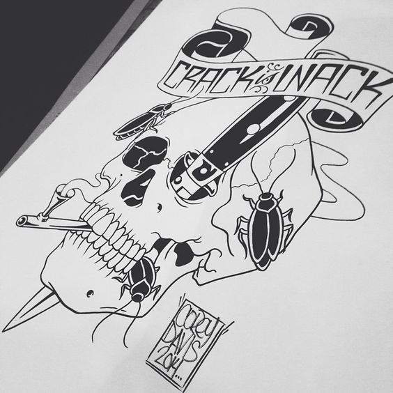 Art by Corey Davis #skull #tattoodesign #bones #crackiswack #cityofinkedgewood
