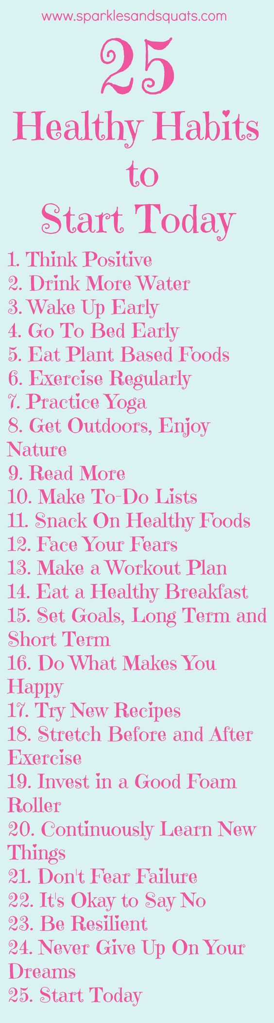 25 Healthy Habits to Start Today: