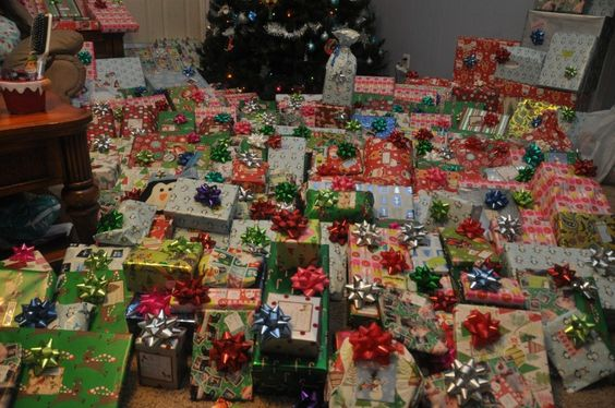 piles of wrapped christmas presents - Google Search | Christmas ...