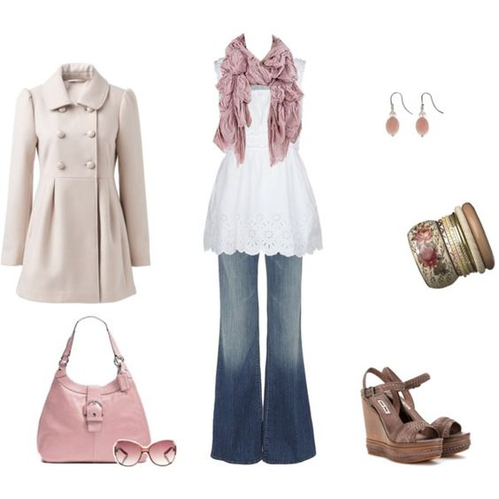 The scalloped edge on this top is adorable; romantic and soft; that Coach bag in blush pink just may be on my asap list!
