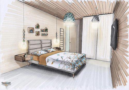 Croquis D Une Chambre Universal Design En Perspective Realise A La Main Avec Rotring Et Promarker Coralie Vasseur Es Decoration Interieure Deco Maison Design