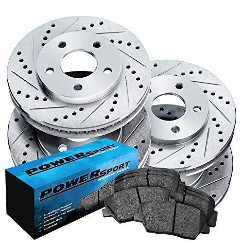 For 2012 2013 Tesla S Front Rear Drill Slot Brake Rotors+Ceramic Pads