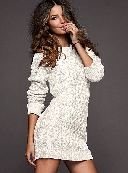 Slouchy Cable Sweaterdress - Victoria's Secret. I need something like this to wear with my knee-high socks.: