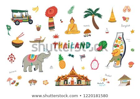 vector illustration of thailand design travel landmarks doodle set ベクターイラスト ベクター画像 図法