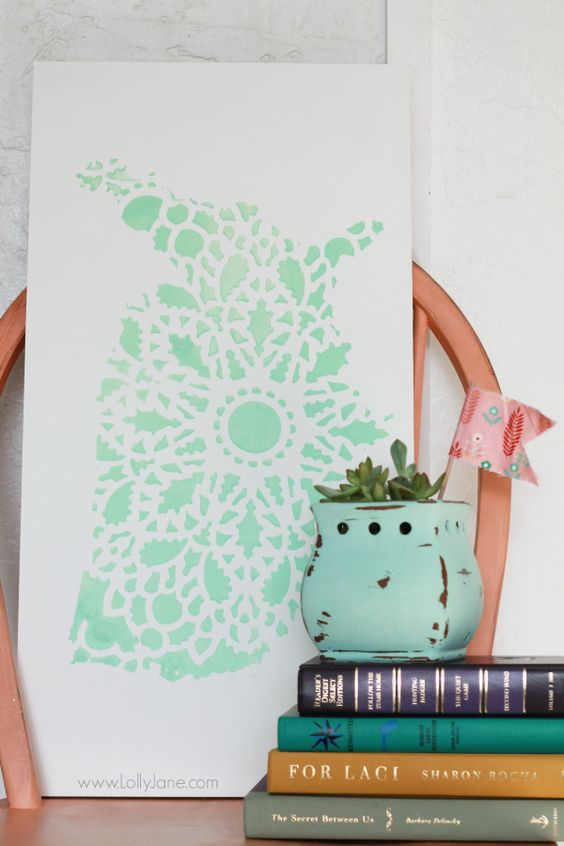 Pretty mint stencil United States sign, easy home decor tutorial. @Lauren Jane Jane {lollyjane.com}: