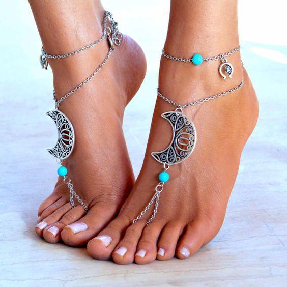"Women Barefoot Sandal ""Moonlight party"", soleless sandals, boho jewelry, boho…"
