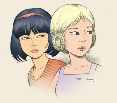 Yoko Tsuno et Ingrid, electronicienne, pilote - musicienne, pianiste.