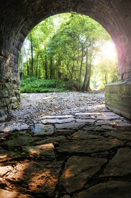 Under the Old Stone Bridge on the Heritage Trail in Madison, Ind.