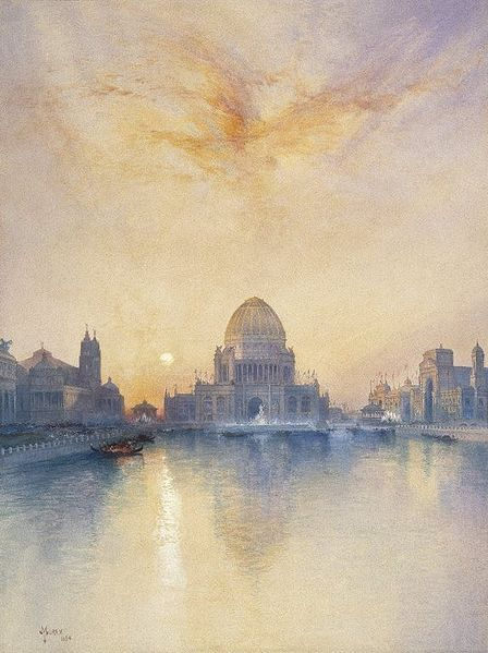"""Chicago World's Fair"" Thomas Moran , watercolour, 1894."