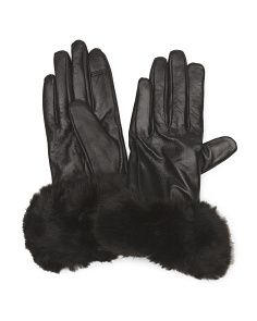 image of Women's Leather Cashmere Tech Gloves