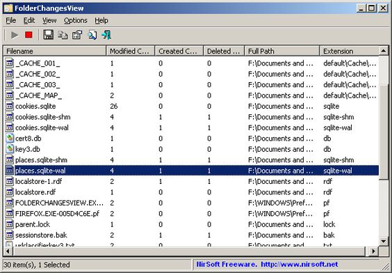 FolderChangesView 1.60 (Click image to go to our download page.)     FolderChangesView is a simple tool that monitors the folder or disk drive that you choose and lists every filename that is being modified, created, or deleted while the folder is being monitored.  You can use FolderChangesView with any local disk drive or with a remote network share, as long as you have read permission to the selected folder. (click image to read more)