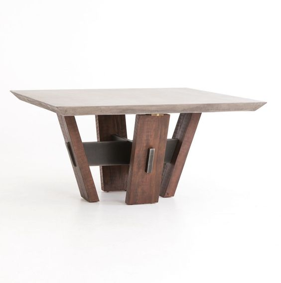"""60"""" Square dining table reclaimed wood sturdy base concrete cement smooth top #WorldBazaarExotics #Modern"""