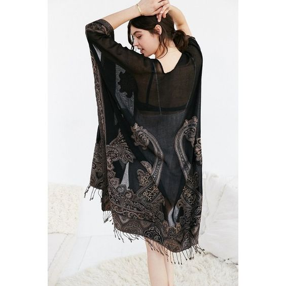 Embellished Paisley Poncho (64 CAD) ❤ liked on Polyvore featuring outerwear, black and urban outfitters