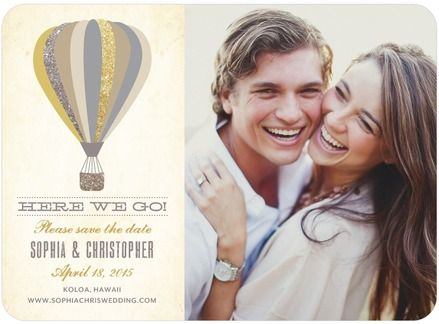 Here We Go - Signature White Photo Save the Date Cards - Jenny Romanski - Marigold - Neutral : Front 40 @ $2.14 ea, $85.60