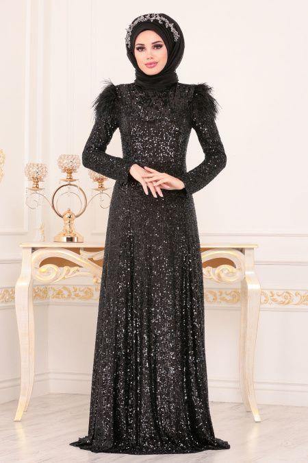 Tesetturlu Abiye Elbiseler Tesetturlu Abiye Elbise Otris Payetli Siyah Tesetturlu Abiye Elbise 21111s Elbise Abaya Tarzi Giyim