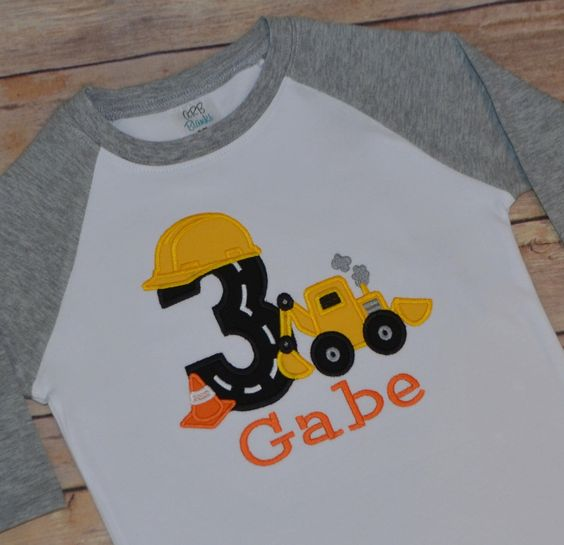 Construction birthday party shirt, boy birthday party ideas, digger shirt