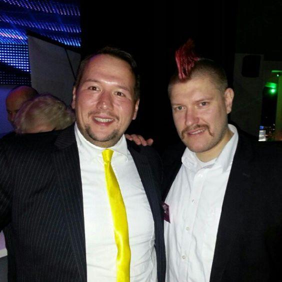 Cihan Gerikoglu with Sascha Lobo at Social Media Night at SkyBar