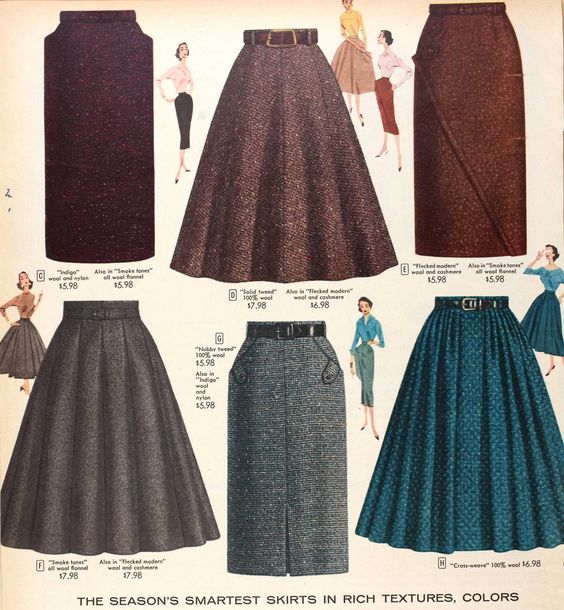 Tweed skirts, Sears & Roebuck, 1956. These skirts are very trendy now. Especially in the colder weather. Paired with some booties and a blouse-y top. Makes for a great day of work outfit, or even a day on the go. Super cute!