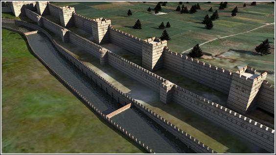 """Imagem simulada do que foram as """"Muralhas de Teodósio"""" construídas para proteger  Constantinopla."""