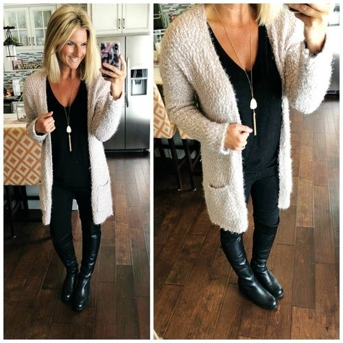 How To Wear A Long Cardigan And Statement Necklace Shopthelook Fallfashion Winterfashion Workwear Statemen Weekly Outfits How To Wear Cardigan Work Outfit