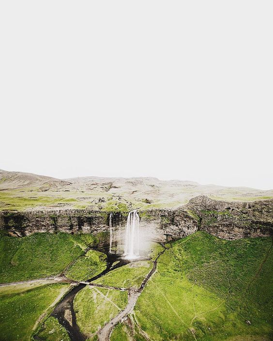 Seljalandsfoss from the air is so so good.  #iceland #dronestagram  my talented husband @hovership
