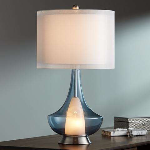 Judith Smoke Gray Glass Modern Night Light Table Lamp 17x81 Lamps Plus Table Lamp Glass Table Lamp Blue Light Bulb
