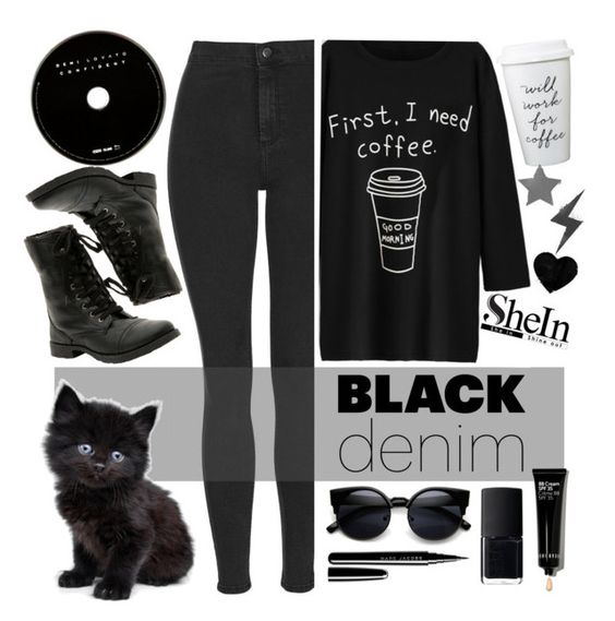 """black denim"" by hajni0103 ❤ liked on Polyvore featuring Topshop, Marc Jacobs, NARS Cosmetics, Bobbi Brown Cosmetics, women's clothing, women's fashion, women, female, woman and misses"
